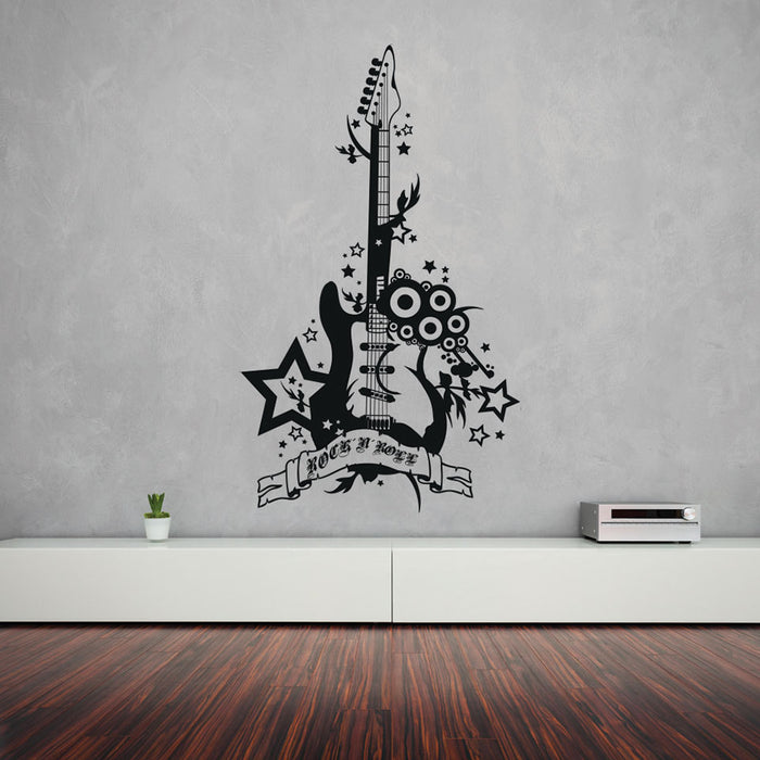 Rock 'n' Roll Guitar Wall Decal