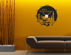 San Francisco Clock-Wall Decal Clocks-Style and Apply