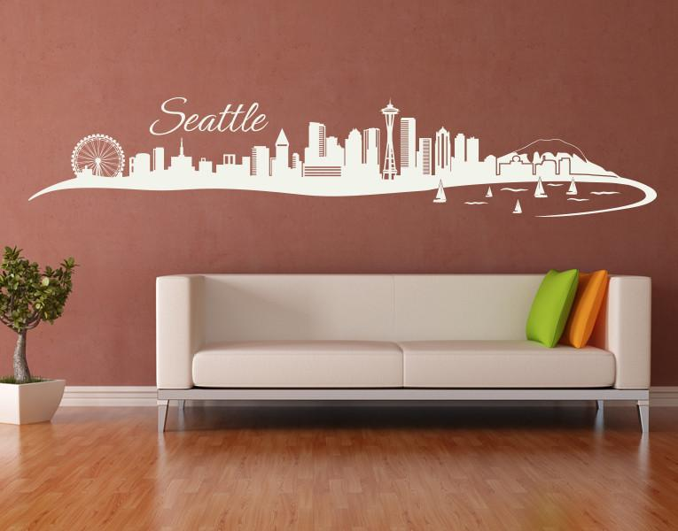 seattle city skyline wall decal style and apply