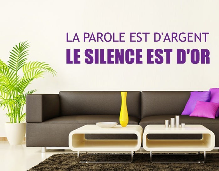 Silence is Gold Wall Decal Quote