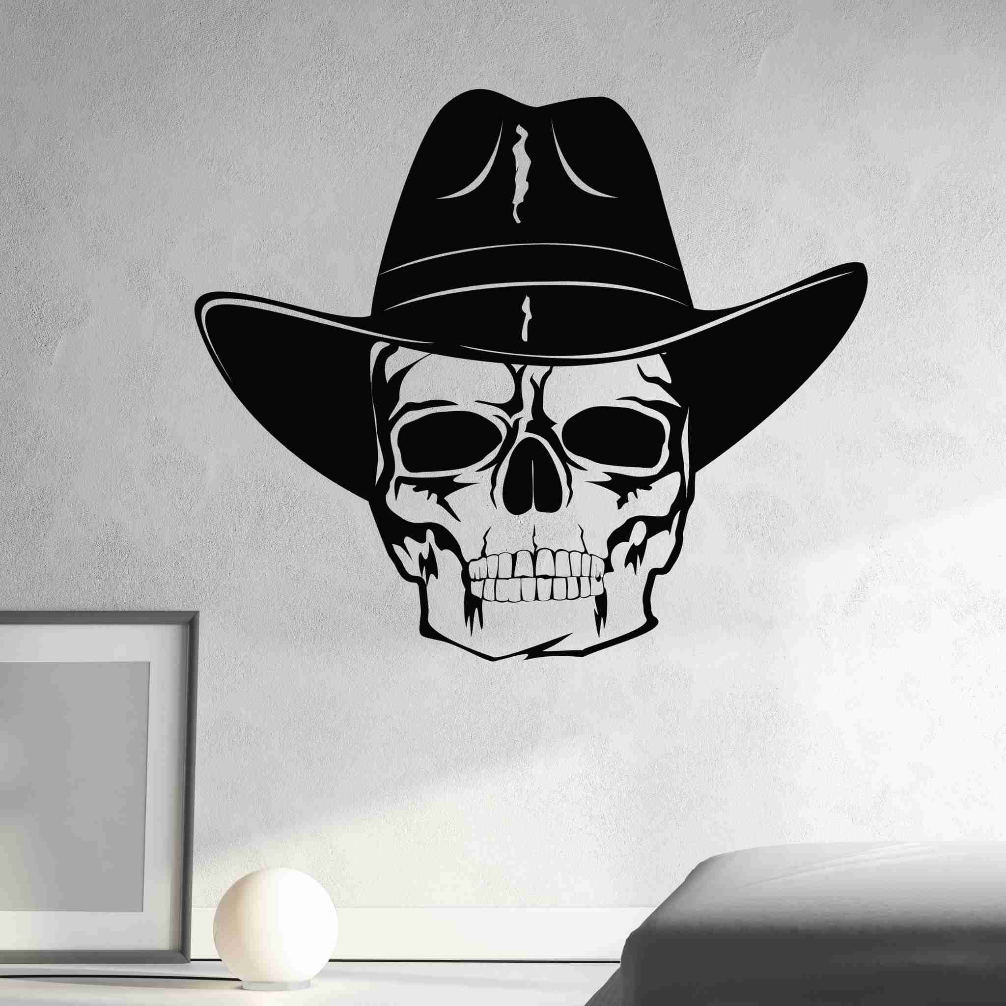 10e62060 Skull with Cowboy Hat Wall Decal