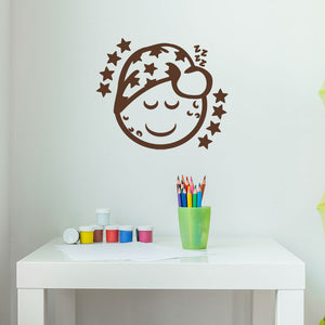Sleepy Moon Wall Decal-Wall Decals-Style and Apply
