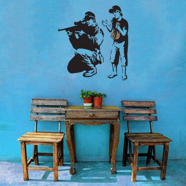 Sniper and Silly Boy Banksy Wall Decal Sticker-Wall Decal Stickers-Style and Apply