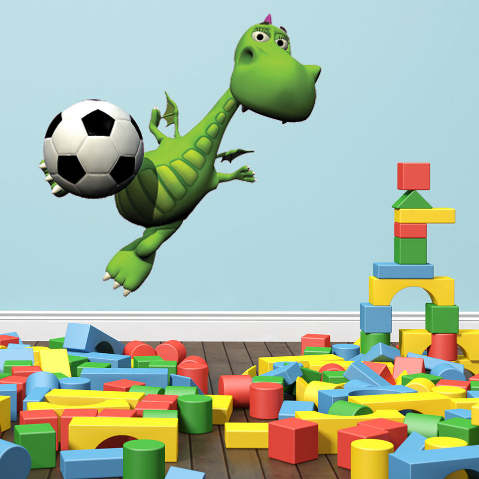 Soccer Dino II Sticker-Wall Decal Stickers-Style and Apply
