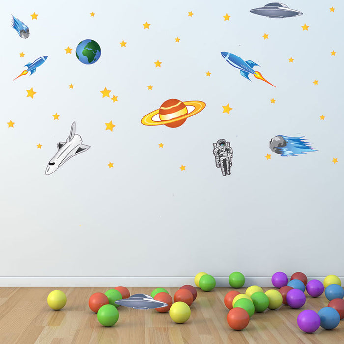 Spaceship and Stars Wall Decal Set