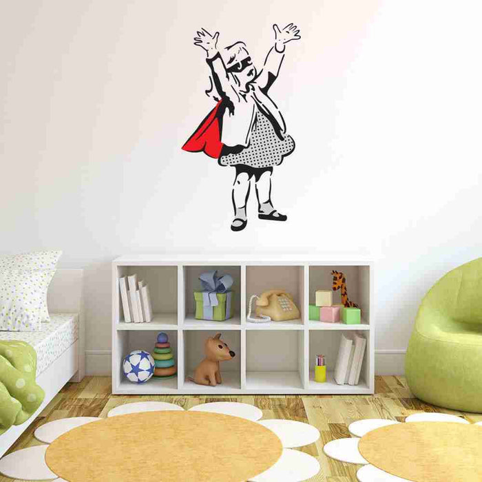 Super Girl Banksy Wall Decal Sticker