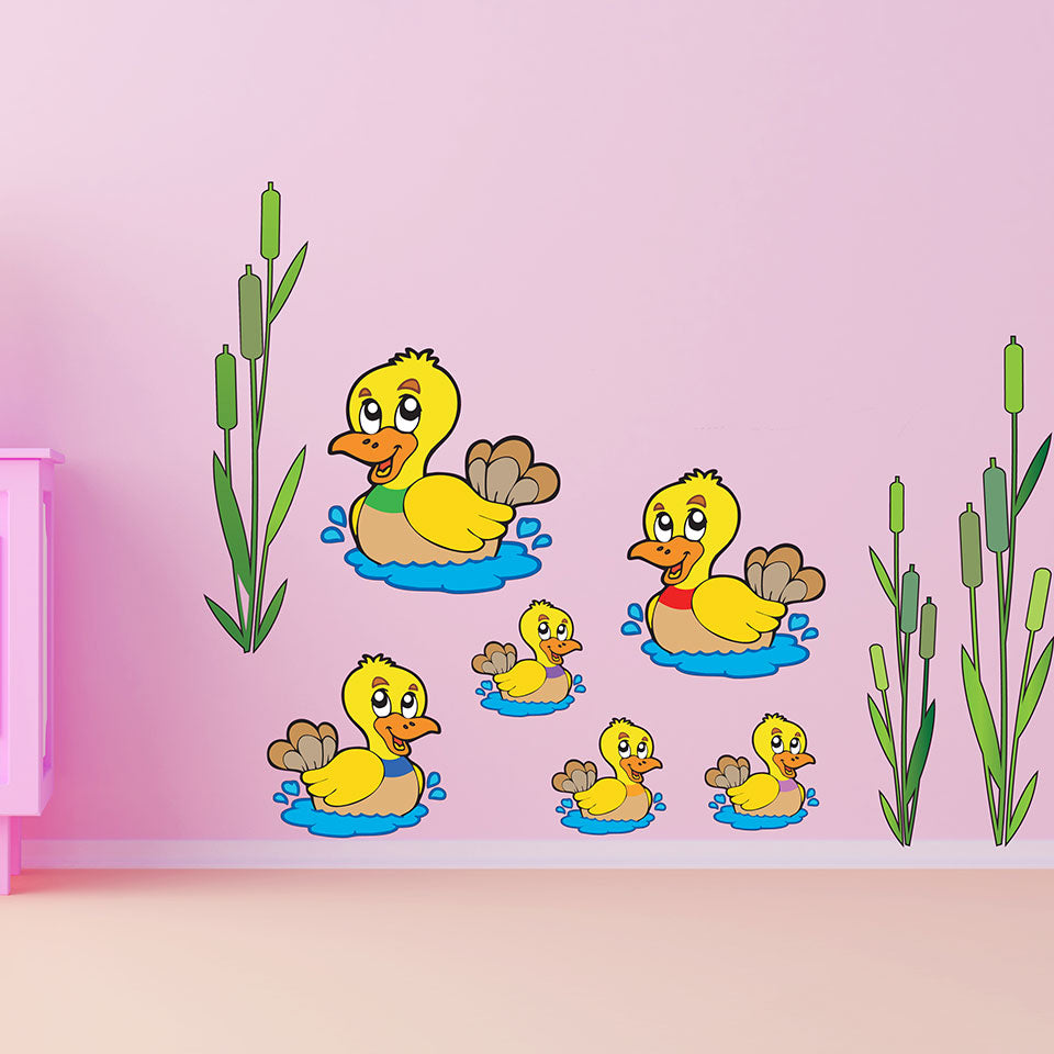 Swimming Ducks-Wall Decal Stickers-Style and Apply