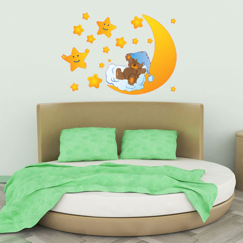 Teddy Bear with Stars wall decal sticker for nursery