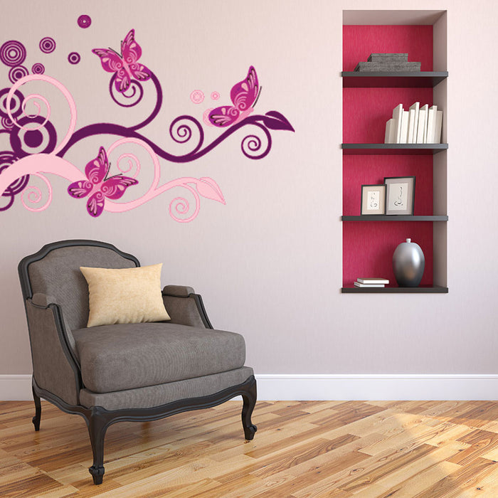 Tendrils with Butterflies Wall Decal