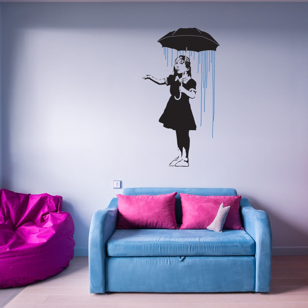 Umbrella Girl Banksy Wall Decal Sticker-Wall Decal Stickers-Style and Apply