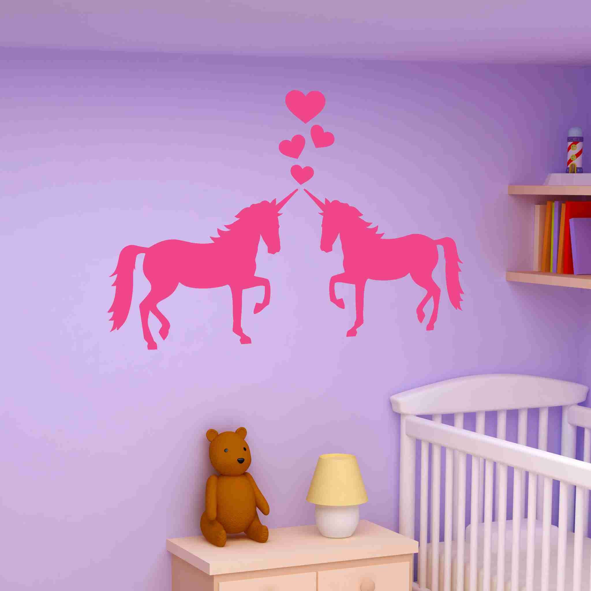 Unicorns In Love Wall Decal Sticker Girls Room Vinyl Wall Art - How do you put up vinyl wall decals