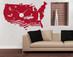 USA Clock Decal-Wall Decal Clocks-Style and Apply