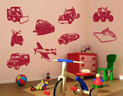 Vehicles Set-Wall Decals-Style and Apply
