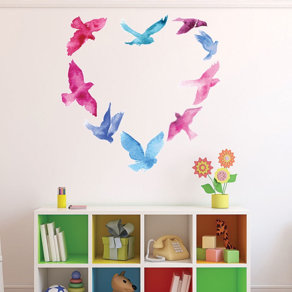 Watercolor Birds Heart Wall Decal