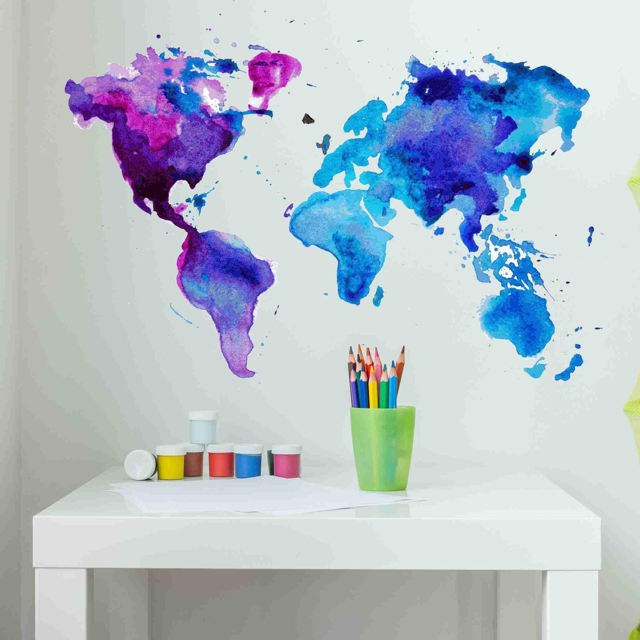Watercolor World Map Wall Decal Style And Apply - World map wallpaper decal