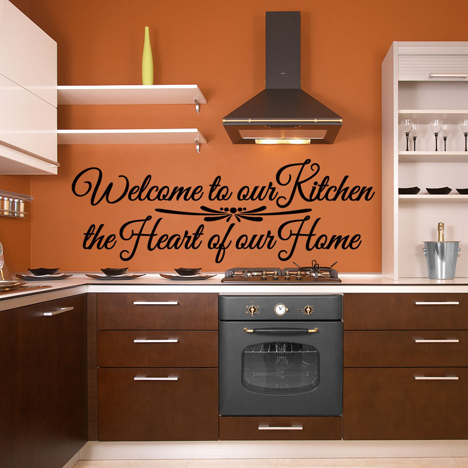 Welcome To Our Kitchen, The Heart Of Our Home Wall Decal quote