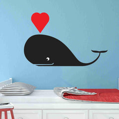 Whale with Heart Wall Decal