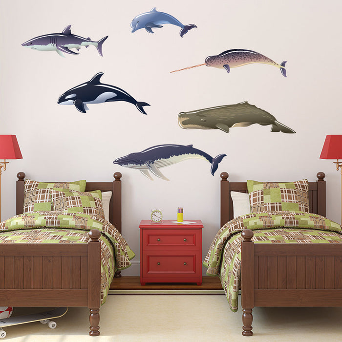 Whales, Dolphin and Shark Wall Decal