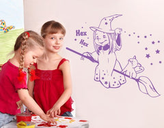 Witch with Broom-Wall Decals-Style and Apply
