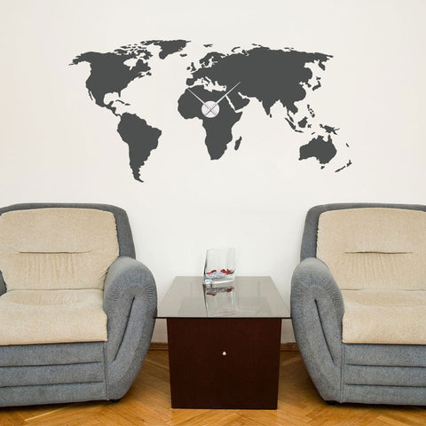 World Map Wall Decal Clock Style And Apply - World map wallpaper decal