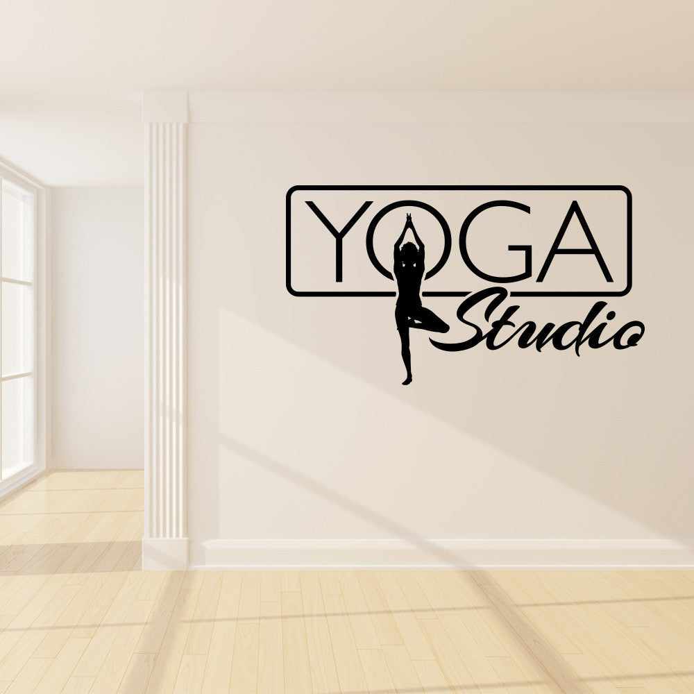 Yoga studio sign wall decal wall decals style and apply