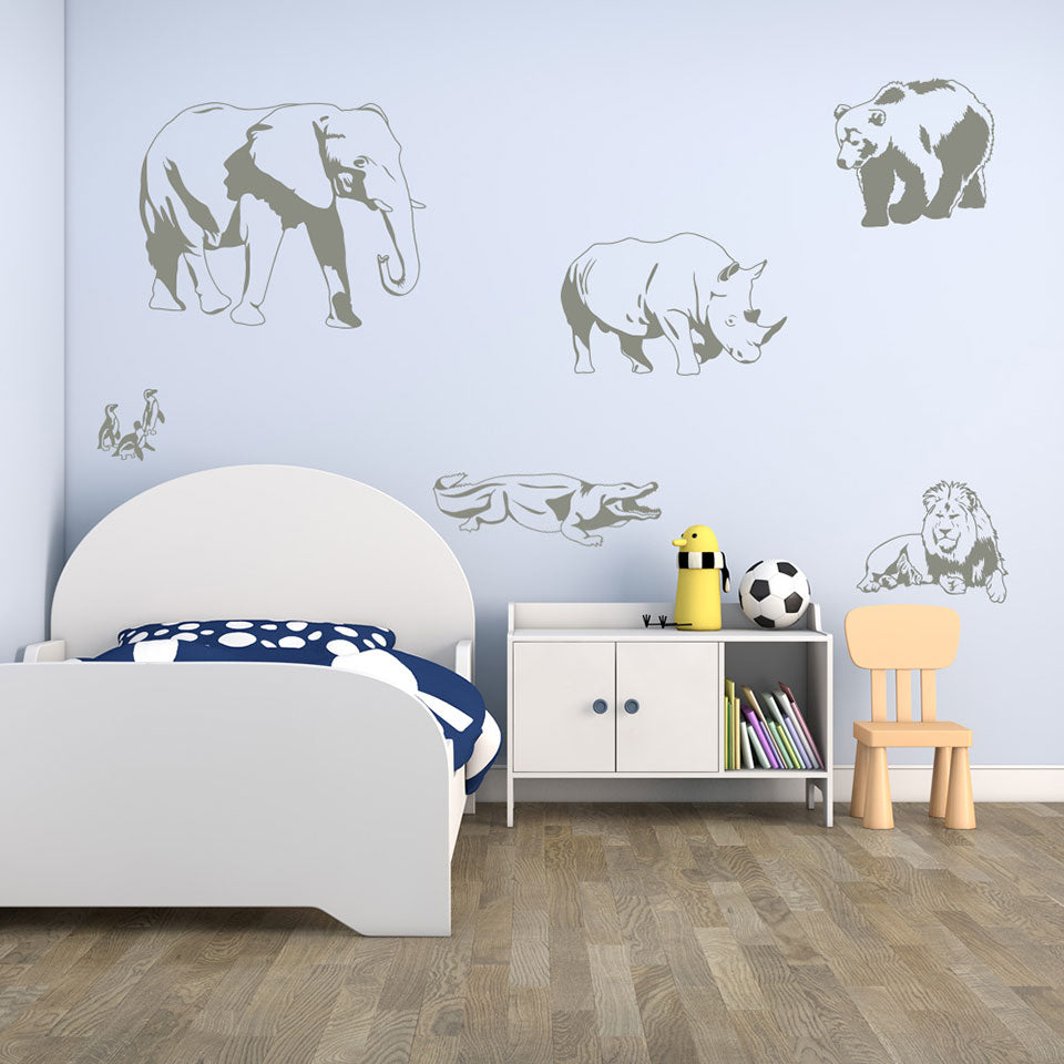 Zoo Animal Wall Decal Set Style And Apply - Zoo animal wall decals