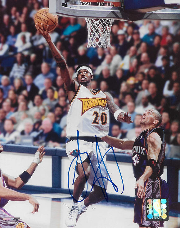 Larry Hughes Golden State Warriors signed basketball 8x10 photo COA