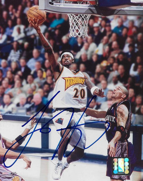 Larry Hughes signed Golden State Warriors basketball 8x10 photo COA.