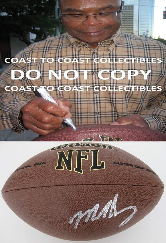 Mike Singletary Chicago Bears signed NFL football proof COA