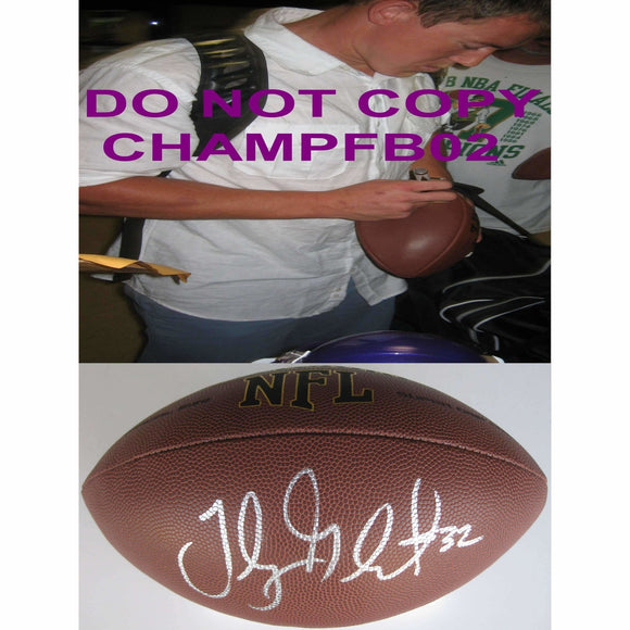 Toby Gerhart, Jacksonville Jaguars, Minnesota Vikings, Stanford Cardinals, Signed, Autographed, NFL Football, a COA with the Proof Photo of Toby Signing Will Be Included