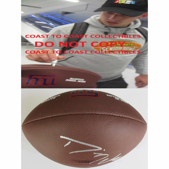 Davis Webb, New York Giants, Signed, Autographed, NFL Logo Football, a COA with the Proof Photo of Davis Signing the Football Will Be Included