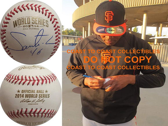 Santiago Castill San Francisco Giants signed 2014 World Series baseball proof