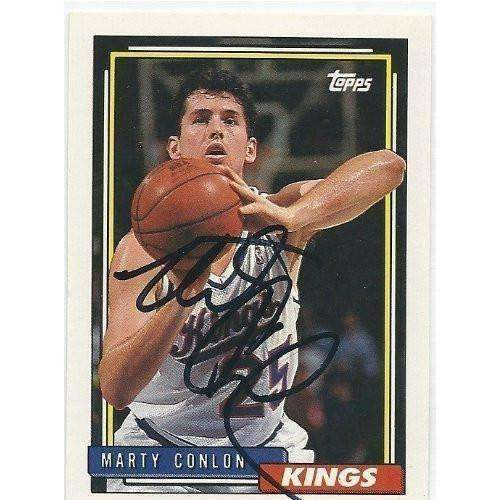 1992, Marty Conlon, Sacramento Kings, Signed, Autographed, Topps Basketball Card, Card # 349,