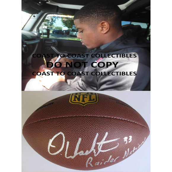 DeAndre Washington Oakland Raiders, Texas Tech signed, autographed Duke NFL football - COA and proof