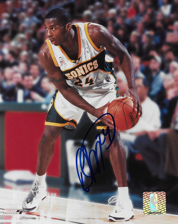 Desmond Mason signed Seattle Supersonics basketball 8x10 photo COA.