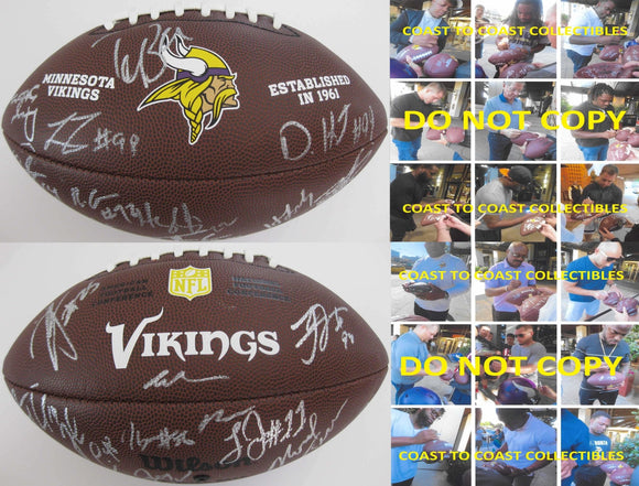 2016-2017 Minnesota Vikings team, signed, autographed, NFL logo football - COA and proof included
