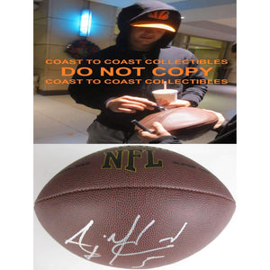 AJ Mccarron Buffalo Bills, Cincinnati Bengals, Alabama, signed, autographed football - COA and proof