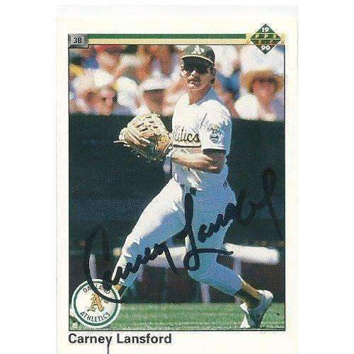 1990, Carney Lansford, Oakland A's, Signed, Autographed, Upper Deck Baseball Card, Card # 253,