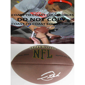 Devontae Booker Denver Broncos, Utah signed, autographed NFL football - COA and proof photo