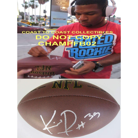 Knile Davis, Pittsburgh Steelers, Kansas City Chiefs, Arkansas, Signed, Autographed, NFL Football, a COA with the Proof Photo of Knile Signing Will Be Included with the Football