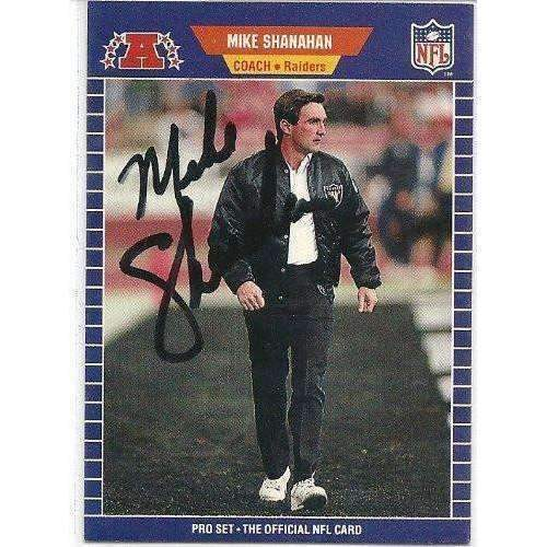 1989, Mike Shanahan, Oakland Raiders, Signed, Autographed, Pro Set Football Card, Card # 194,