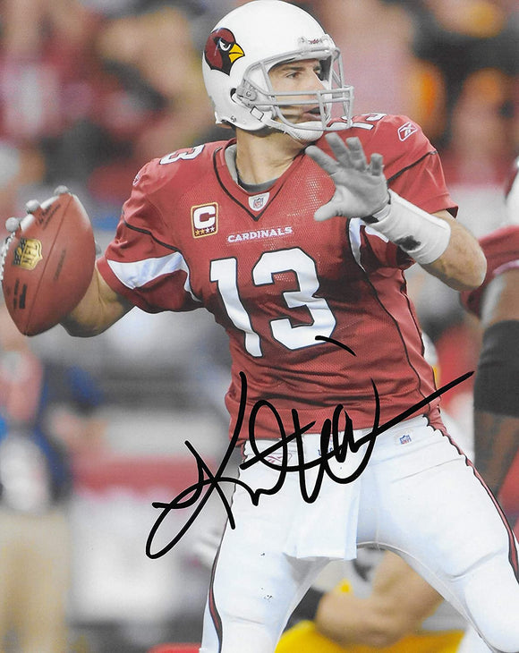 Kurt Warner Arizona Cardinals autographed football 8x10 photo proof COA