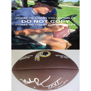Mark Rypien Washington Redskins, Signed, Autographed, NFL Logo Football, a COA with the Proof Photo of Mark Signing Will Be Included with the Football