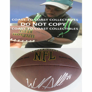 Wendall Smallwood, Philadelphia Eagles, West Virginia, Signed, Autographed, NFL Football, a COA with the Proof Photo of Wendall Signing Will Be Included
