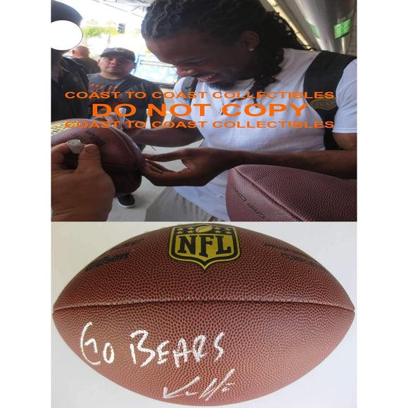 Kevin White Chicago Bears, West Virginia, Signed, Autographed, NFL Duke Football, a COA with the Proof Photo of Kevin Signing the Football Will Be Included