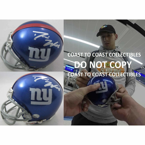 Davis Webb, New York Giants, Signed, Autographed, Football Mini Helmet, a COA with the Proof Photo of Davis Signing the Helmet Will Be Included