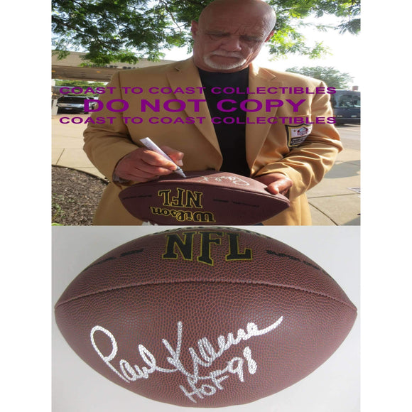 Paul Krause, Minnesota Vikings, Washington Redskins, Signed, Autographed, NFL Football, a COA with the Proof Photo of Paul Signing Will Be Included