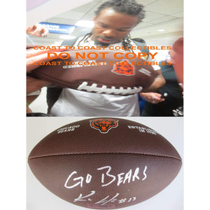 Kevin White Chicago Bears, Signed, Autographed, NFL Logo Football, a COA with the Proof Photo of Kevin Signing the Football Will Be Included
