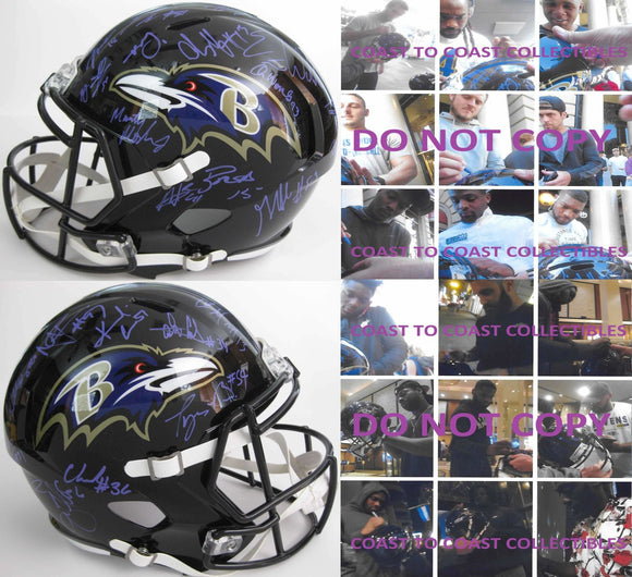 2017 Baltimore Ravens team, signed, autographed, full size football helmet - COA and proof included