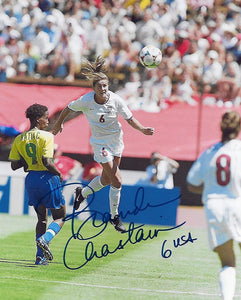 Brandi Chastain USA womens team signed autographed soccer 8x10 photo proof COA.